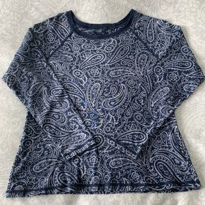Chaps 100% Cotton paisley print long-sleeved top